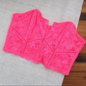 NWT Victoria's Secret Lace Plunge Bustier Pink